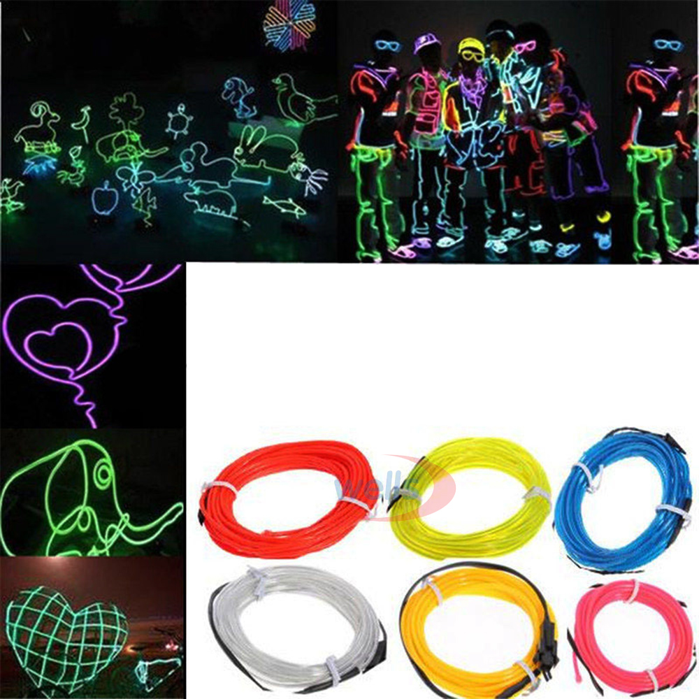 3m 10 Colors USB EL Wire,Tube Rope Battery Powered Flexible Neon Cold Light Car Party Wedding Decor With Controller