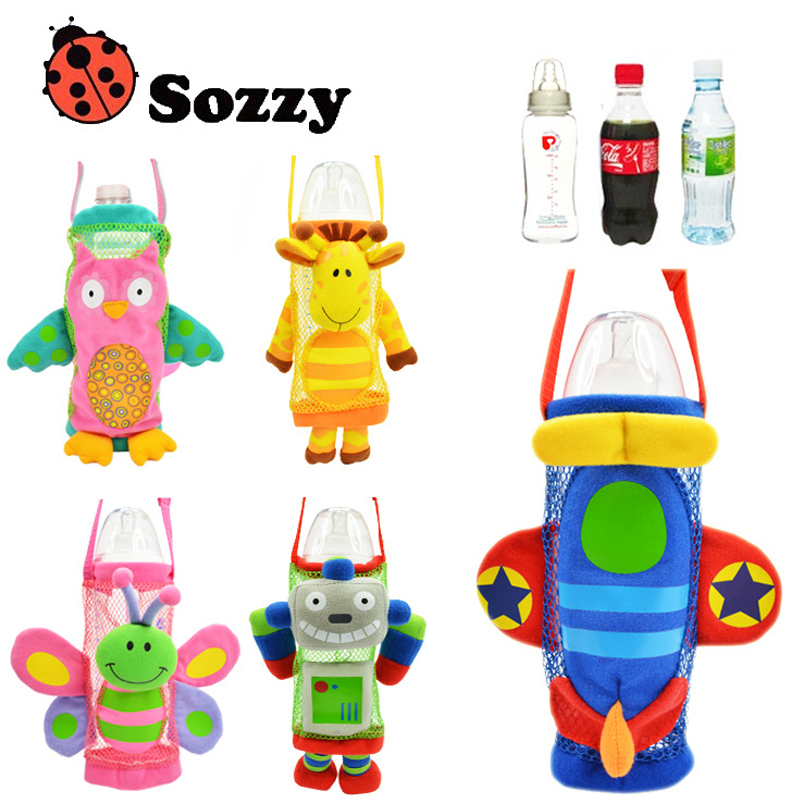 1pcs Sozzy Children water bottle handle bags Cartoon Feeder Lagging Baby Bottle Huggers Infant feeding bottle bag case