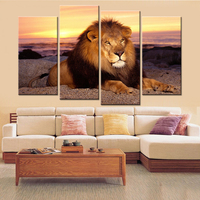 4 Piece Canvas Wall Art Abstract Pictures Lion Animal Sunset Landscape Painting for Living Room Canvas Print Home Decor No Frame
