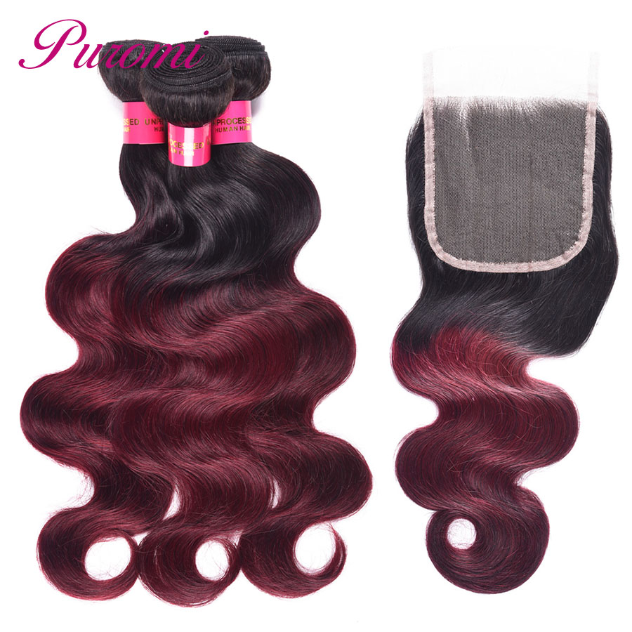 Puromi Body Wave 1b/99j Peruvian Bundles with Closure Free Part Ombre human hair bundles with closure Non Remy