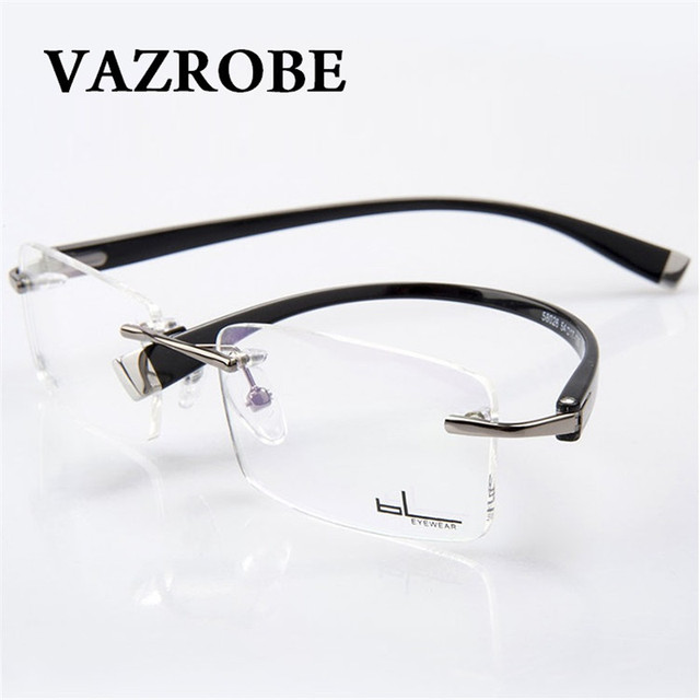 dc0004012c Vazrobe Rimless Eyeglasses Frames Men fashion Optical Glasses for Male  myopia diopter Spectacles for Prescription Man s Eyewear