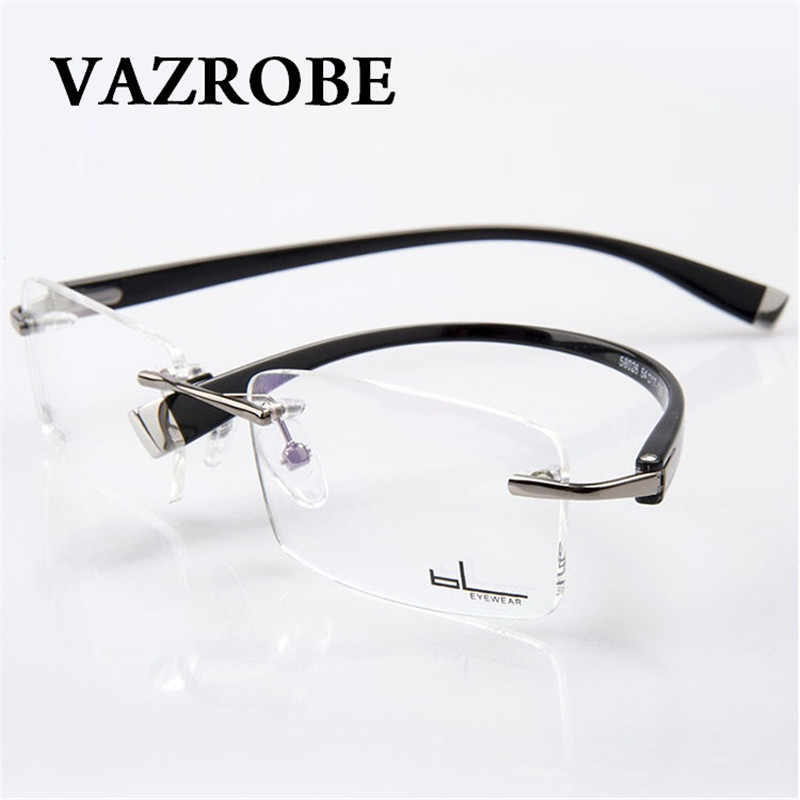 ec5a623932 Vazrobe (3g) Titanium Rimless Glasses Men Women Customize Optical Clear Lens  Man Prescription 1.61 1.67 Index ...