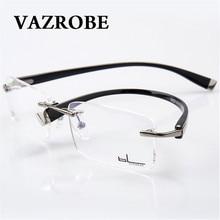 42c1f5411e Vazrobe Rimless Eyeglasses Frames Men fashion Optical Glasses for Male  myopia diopter Spectacles for Prescription Man s