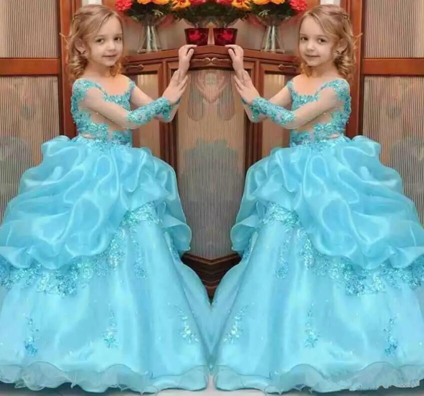 Princess Ball Gown Girls Pageant Dresses Beaded Kids Flower Girl Dress Sheer Neck Long Sleeves Custom Any Size цены онлайн