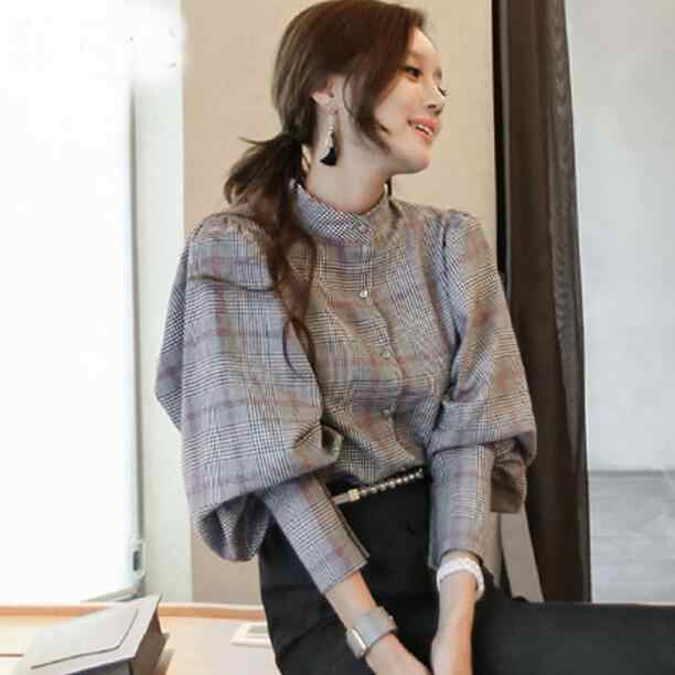 spring autumn plaid top women back bow tie slim lantern sleeve blouses high quality work business runway blouses DF253