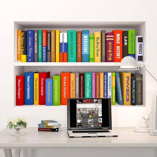 3d creatieve nep boekenkast interieur vinyl muurstickers diy boek decoratie vintage poster behang wallstickers