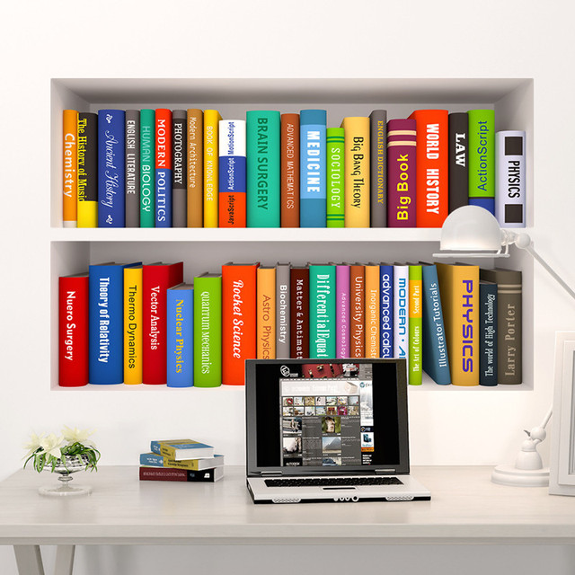 3D Creative Fake Bookcase Home Decor Vinyl Wall Stickers DIY Book ...