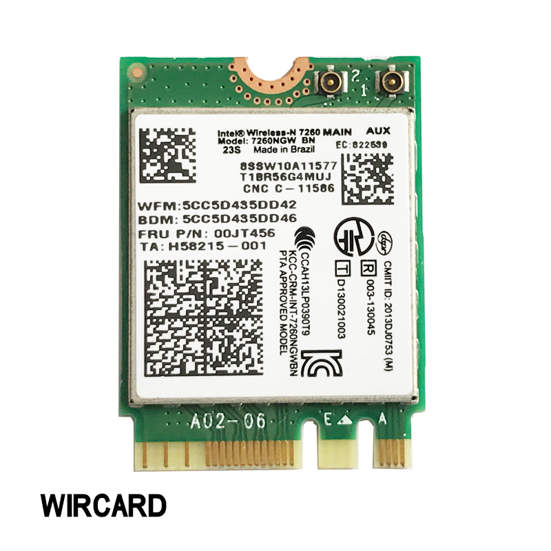 Wireless-N Intel 7260NGW Wireless WIFI  CARD 7260BN For Thinkpad L440 Laptop FRU 00JT456 NGFF M2 Wifi ADAPTER