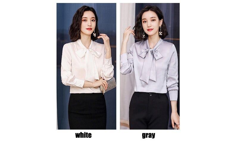 Blouses blanc La Femme 4 Nouvelle Mode Lady Taille Femmes 3xl Plus Casual Office bourgogne gris Shirts Tingfly Élégant rose Blouse Noir Satin Couleurs Arc Cou Mince awqxOASOH6