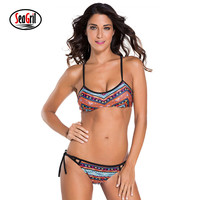 SeaGirl 2017 Women Ethnic Printed Strappy Bikini Swimsuit Brazilian Cutout Racerback Swimswear