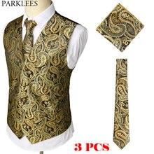 Золотой цветочный жаккардовый комплект из 3 предметов, жилет+ галстук+ платок, брендовый приталенный деловой свадебный жилет без рукавов, мужской жилет Homme