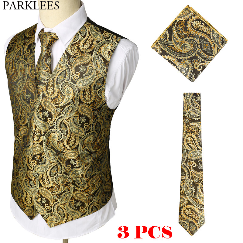 Gold Paisley Floral Jacquard 3pcs Vest+Tie+Hankerchief Set Brand Slim Fit Business Wedding Sleeveless Waistcoat Men Gilet Homme
