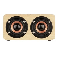 Professional W5 Portable Full Range Double Trumpets Loudspeaker Wood Card Inserting Bluetooth Loudspeaker For IPhone Apple