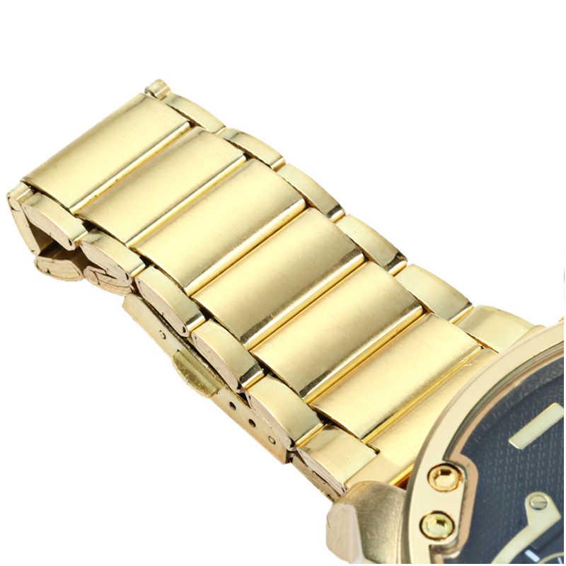 Grote Horloge Mannen Luxe Golden Staal Horlogeband Mannen Quartz Horloges Dual Time Zone Militaire Relogio Masculino Casual Klok Man xfcs