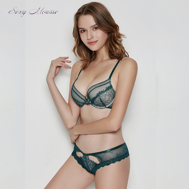 sexy mousse lace sexy women underwear padded bra and pantie sets push up young girl green black new arrival beauty back in Bra Brief Sets from Underwear Sleepwears