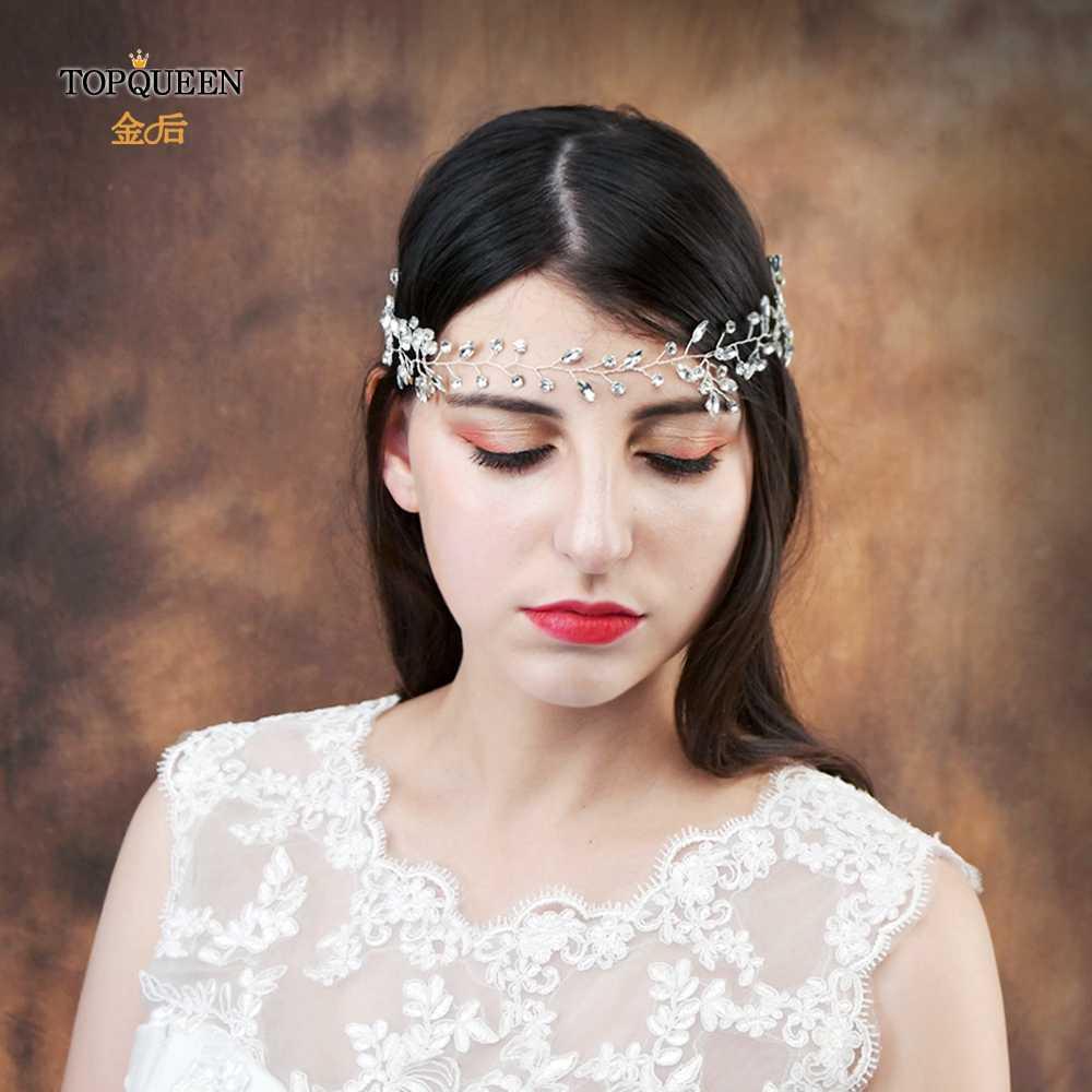 TOPQUEEN الزفاف عقال من الراين الشعر الحلي الزفاف تيارا الزفاف غطاء الرأس الزفاف إكسسوارات الشعر للنساء HP34