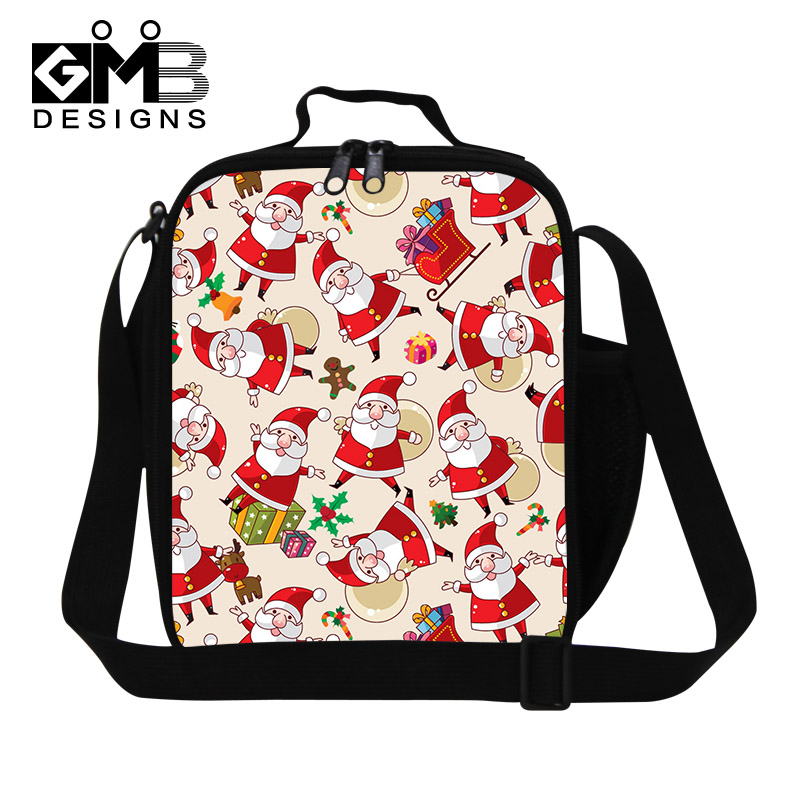 Santa Claus Lunch Box Children Thermal Insulated Food Container Kids Lunch Bag Christmas Gifts Portable With Zipper Bento Bag