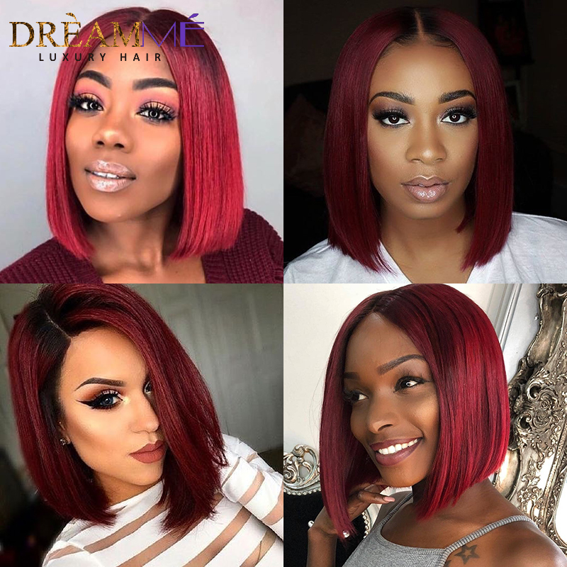 150 Ombre Color T1B Burgundy 13 6 Lace Front Human Hair Wigs With Baby Hair Straight