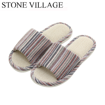 STONE VILLAGE large size 36-45 Summer Striped Mute Flax Women Slippers shoes  Indoor Floor Home Slippers Shoes Drop Shipping 1