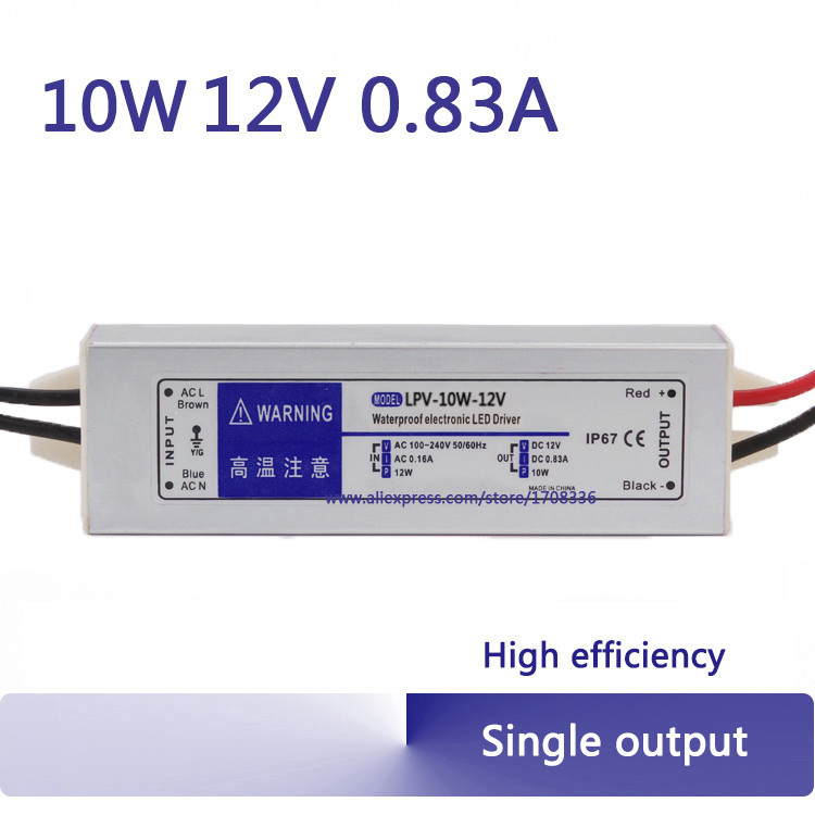 10w constant voltage 12V 0.83A waterproof power supply IP67 switching 12 volt led driver mini led transformer dc12v 100w ip67 waterproof constant voltage electronic led driver transformer power supply free shipping