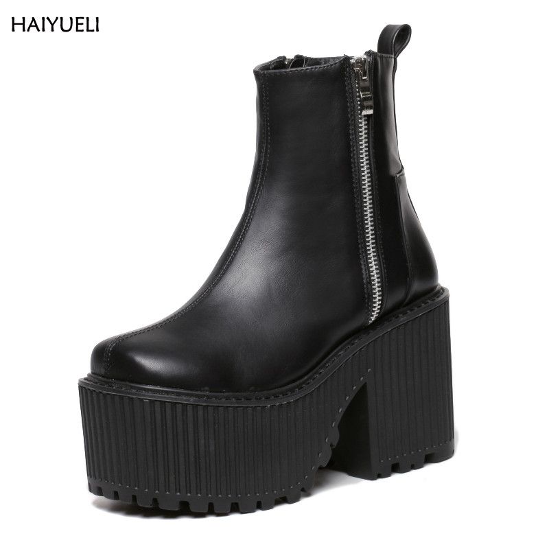 Botines Tacon Mujer Black / White 플랫폼 부츠 펑크 록 오토바이 부츠 지퍼 Chunky Ankle Boots 하이힐 마틴 부츠