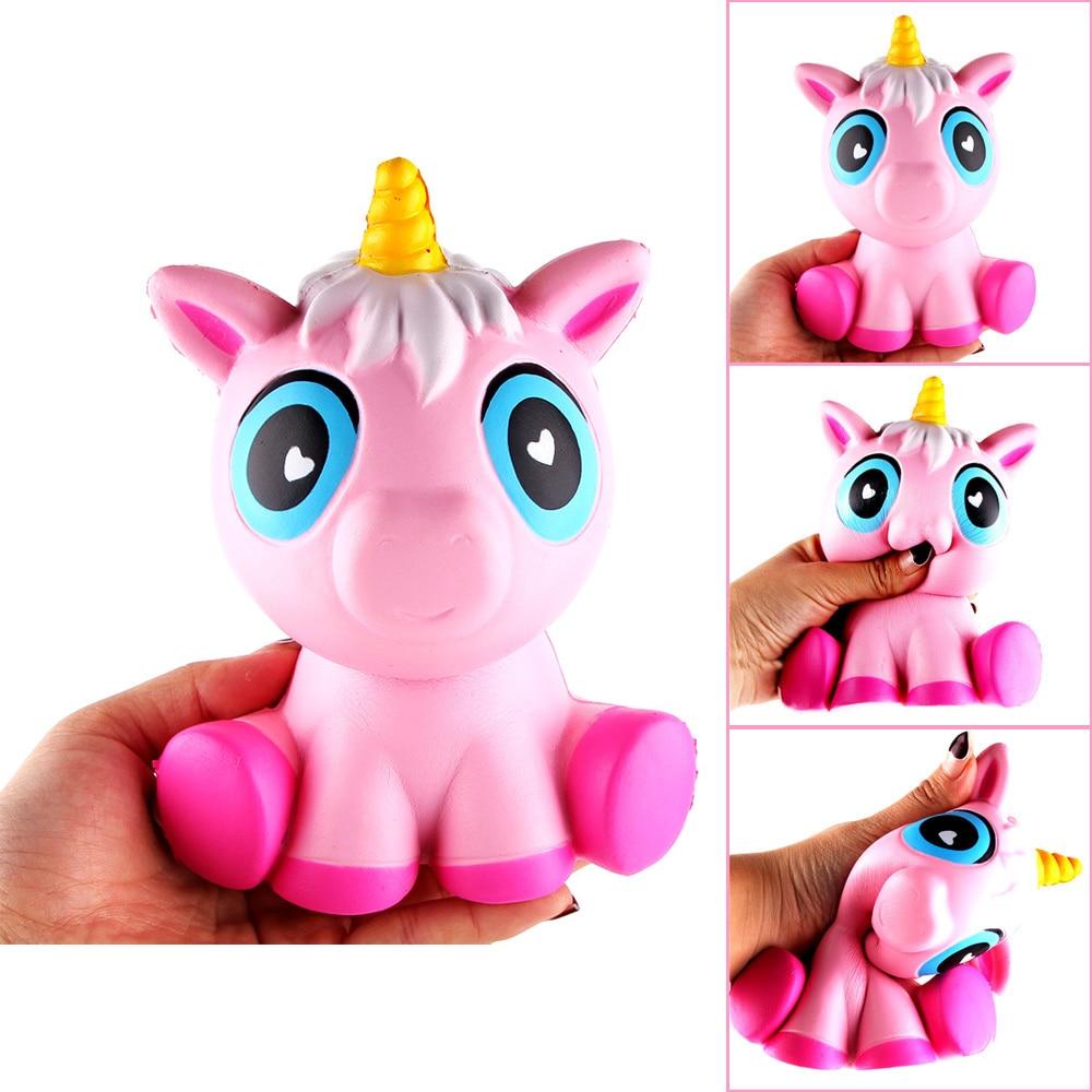Soft Pink Squishy Unicorn Horse Squish Toys Shape Slow Rebound PU Slow Rising anti stress Jumbo Cute Animal Squishy Toy For Kids m007 jumbo squishy simulation unicorn slow rising relief pressure toy