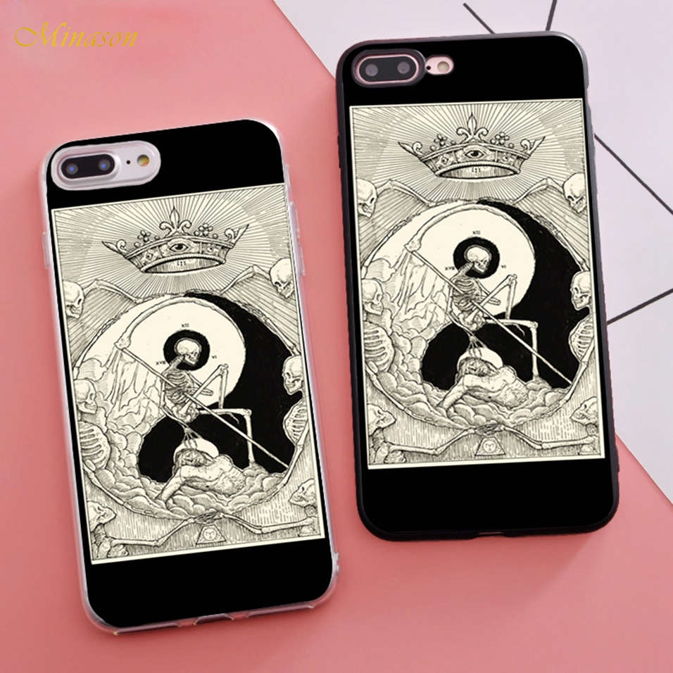 Minason Trending Coque Tarot Cards The Death Fitted Housings Phone Case for iPhone X 5s SE 6 S 6s 7 8 Plus Cover Rubber Bumper