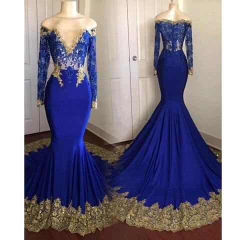 Vestidos de Baile Vestidos de Fiesta Vestido de Noite Sexy Barato Azul Royal Tamanho Grande Ouro Apliques Manga Comprida 2020