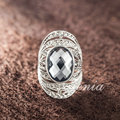 Jenia Luxury Ring New Arrival Antique Grey Big Crystal Ring for Men and Women XR170
