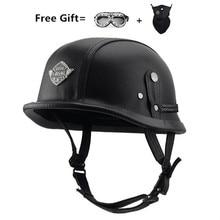 Adult Leather Harley Helmets For Motorcycle Retro Half Cruise Helmet Prince GERMAN Vintage Moto