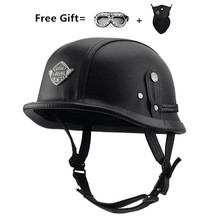 цена на Adult Leather Harley Helmets For Motorcycle Retro Half Cruise Helmet Prince Motorcycle GERMAN Helmet Vintage Motorcycle Moto