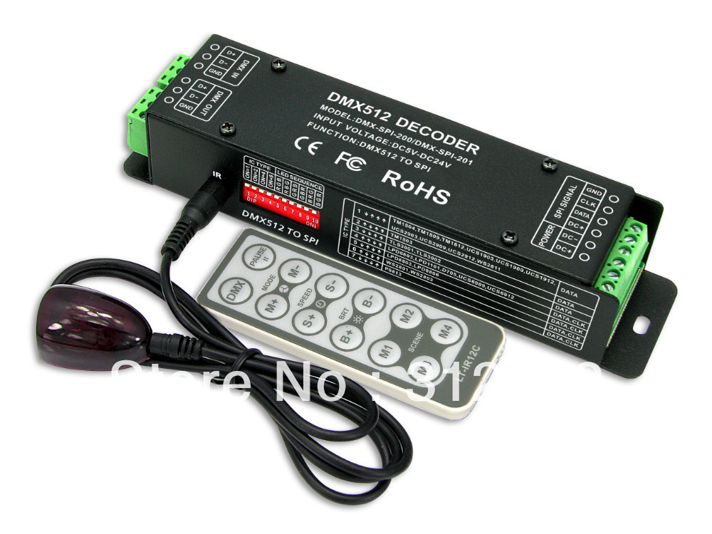 DMX-SPI-200 DMX-SPI Decoder with IR remote;support WS2801/WS2811/WS2812/WS2812B/TM1804/TM1809/INK1003/1903.etc IC  цены