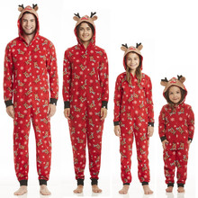 Family Matching Outfits Christmas Family Pajamas Set Adult Women Men Kid Long Sleeve Hooded Sleepwear Nightwear Rompers Jumpsuit(China)