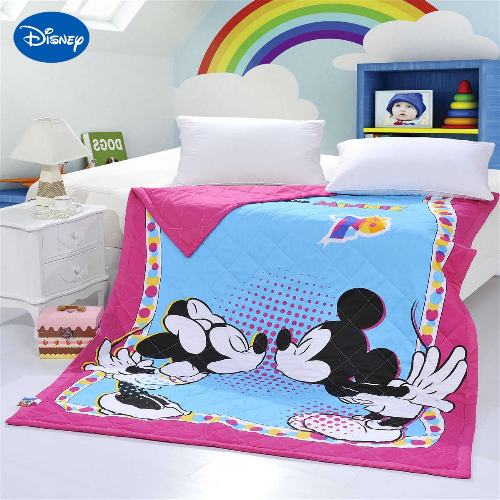 Kiss Mickey Minnie Mouse Quilts Comforters Bedding Cotton Covers 150*200cm Summer Girls Baby Kids Bedroom Decor Blur Rosy Colour