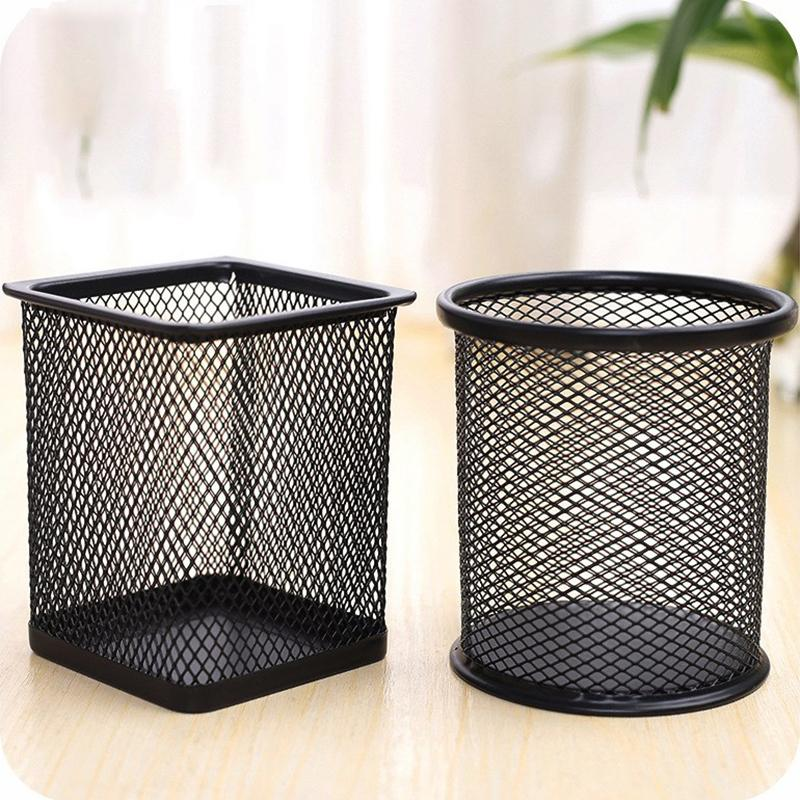 Desktop Office Modern Supplies Storage Ornament Metal Mesh Multi Functional Pen Pencil Holder Case Brush Pot Storage Supplies