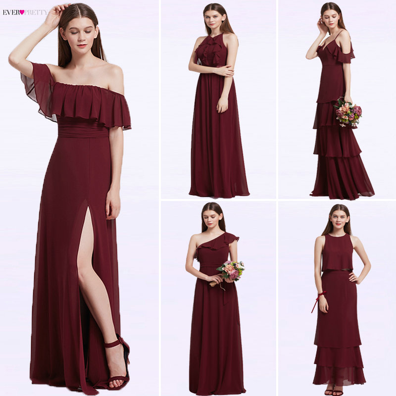 Ever Pretty Women Elegant Sexy Long Burgundy Bridesmaid Dresses Chiffon V Neck Backless Formal Wedding Party