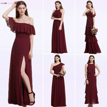 Ever Pretty Women Elegant Sexy Long Burgundy Bridesmaid Dresses Chiffon V Neck Backless Formal Wedding Party Dress