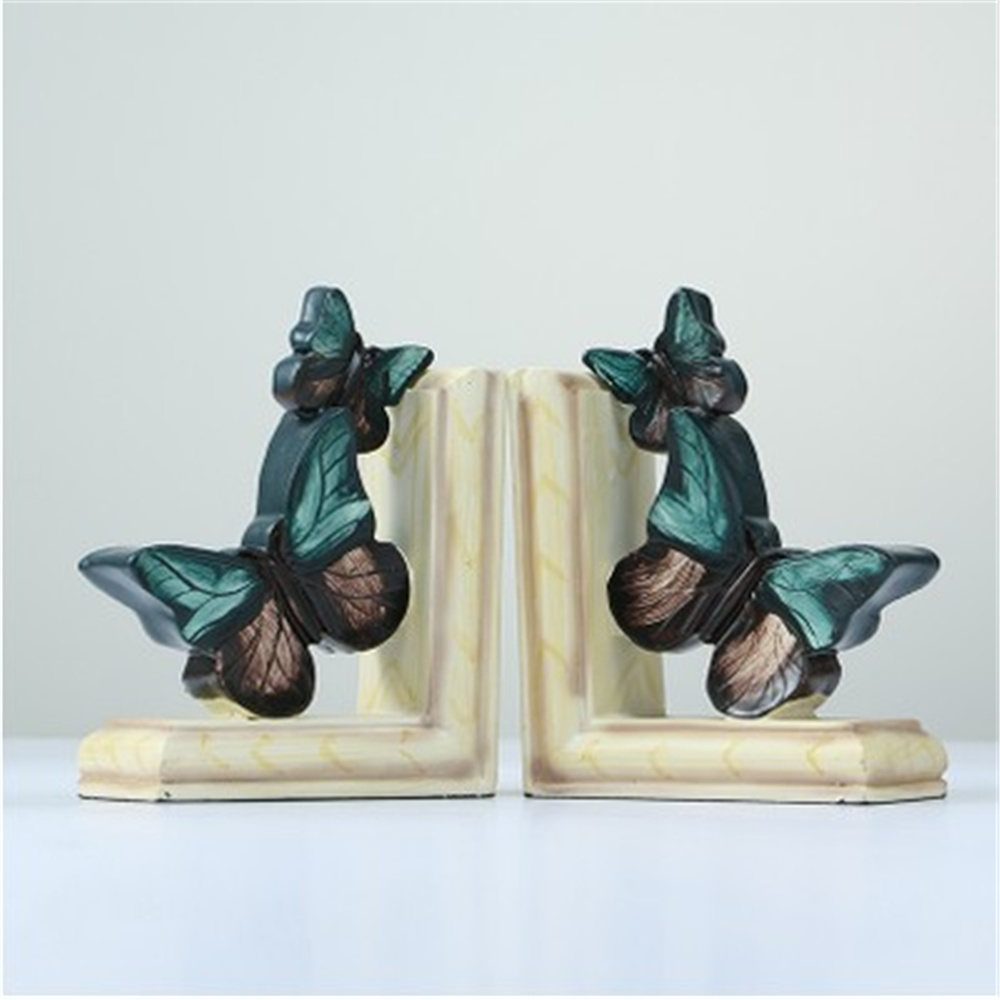 a Pair Creative Synthetic Resin Bookend Shelf Retro Butterfly Bookend Holder Office Supplies Home Decoration Book Stand creative katana bookend home decorative magnet katana bookends as book stand book reading holder