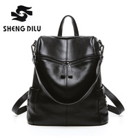 Shengdilu 100 Genuine Leather Women Multifunction Knapsack Rivet Backpack Shoulder Bag Ladies Corssbody Bag Back Pack