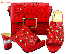 doershow beauty Lady Italian Shoes and Bag Set red color African Shoes and Matching Bags Italian Nigerian Shoes and Bag JZS1-44 cheap WOMEN Pumps Peep Toe Spring Autumn Fashion Med (3cm-5cm) Thin Heels Basic Buckle Strap Dress 3-5cm Medium(B M) Adhesive