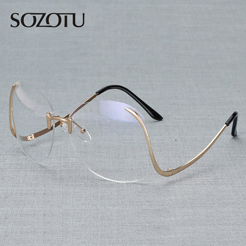 Optical Clear Glasses Frame Women Computer Rimless Decorative Eyeglasses Spectacle Frame For Women's Transparent Lens YQ078