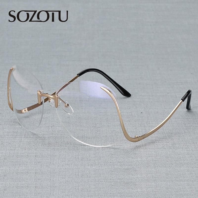 Οπτικά γυαλιά γυαλιών πλαισίων γυναικών υπολογιστών Rimless διακοσμητικά γυαλιά οράσεως πλαίσιο για το διαφανές φακό των γυναικών YQ078