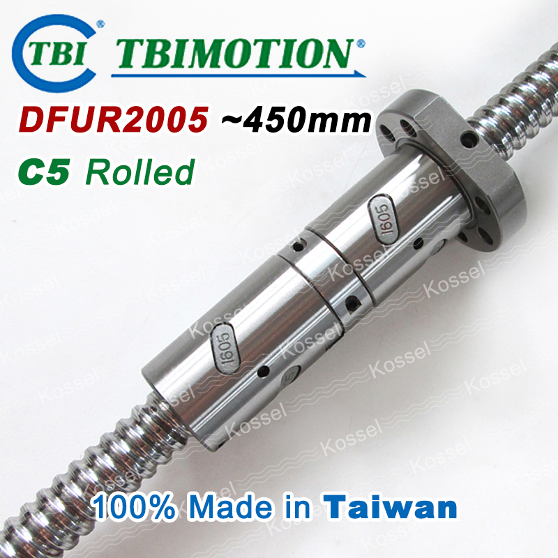 TBI 2005 C5 Rolled 450mm ballscrews with DFU2005 ball nut + end machined for high precision CNC kit DFU set Custom high precision oem custom machined aluminum prototype