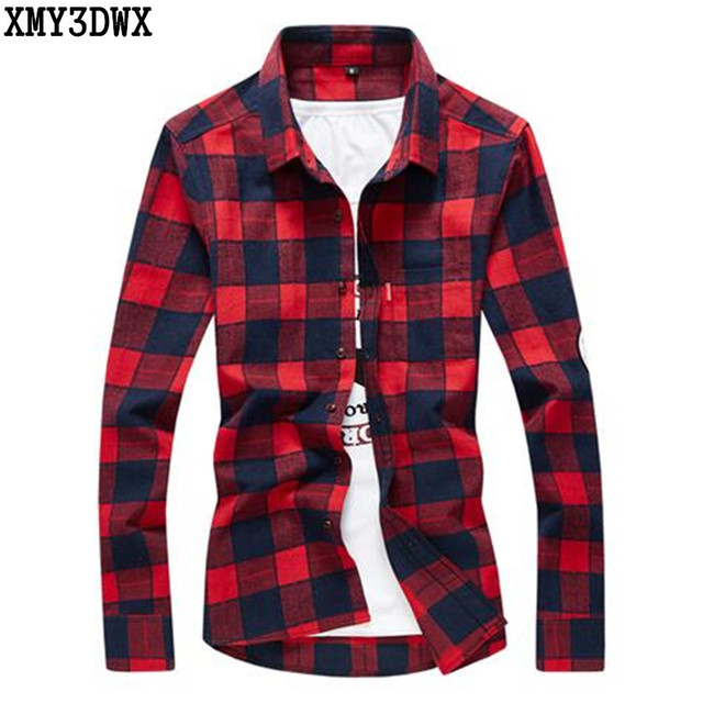 Aliexpress Com Buy 2017 New Men S Plaid Flannel Shirt Slim Fit