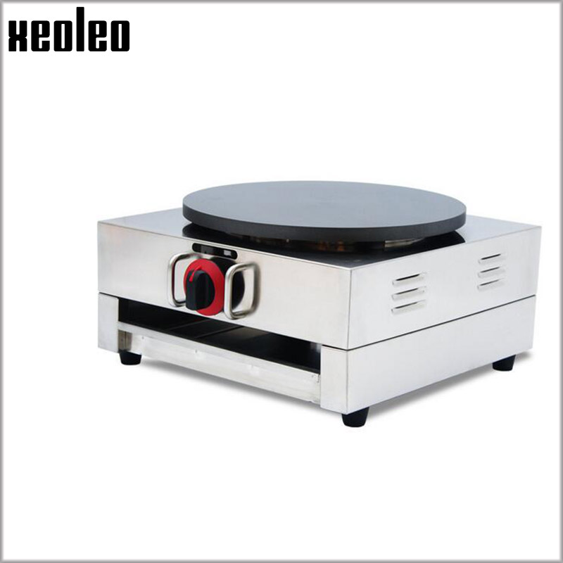 Xeoleo Gas Crepe maker Stainless steel Pancake machine Commercial French Crepes machine Commercial Naan Bread Maker fast food leisure fast food equipment stainless steel gas fryer 3l spanish churro maker machine
