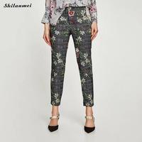 Vintage Kobiety Spodnie kwiatowy print Dziewięć Punkt Biuro Panie Spodnie Wiosna Jesień Legginsy Wygodne Ubrania Moda ołówek Spodnie