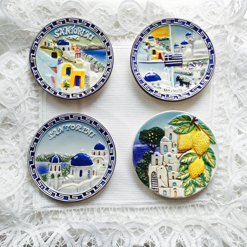 Decorative Dishes Ceramic Decor For Background Wall Hand-painted Tourist Souvenir European Style Tourist Souvenir Ornament