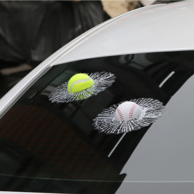 Youwinme 3d tennis ball car sticker window decals auto windshield truck body baseball funny adhesive