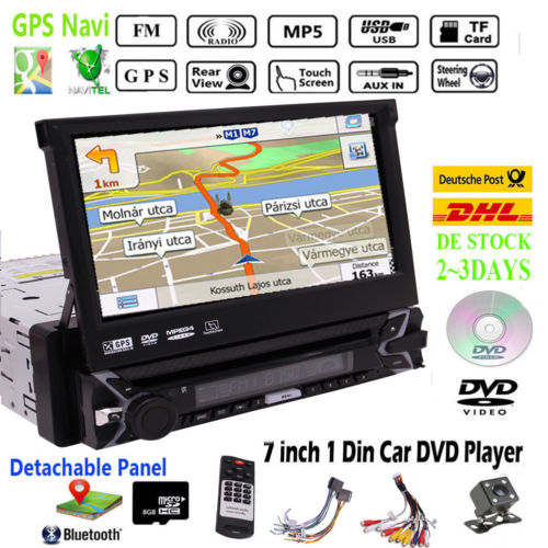 Автомобильный gps плеер с Bluetooth USB SD порт пульт дистанционного управления SWC поддержка Съемная передняя панель gps навигация цветная Кнопка 1 din