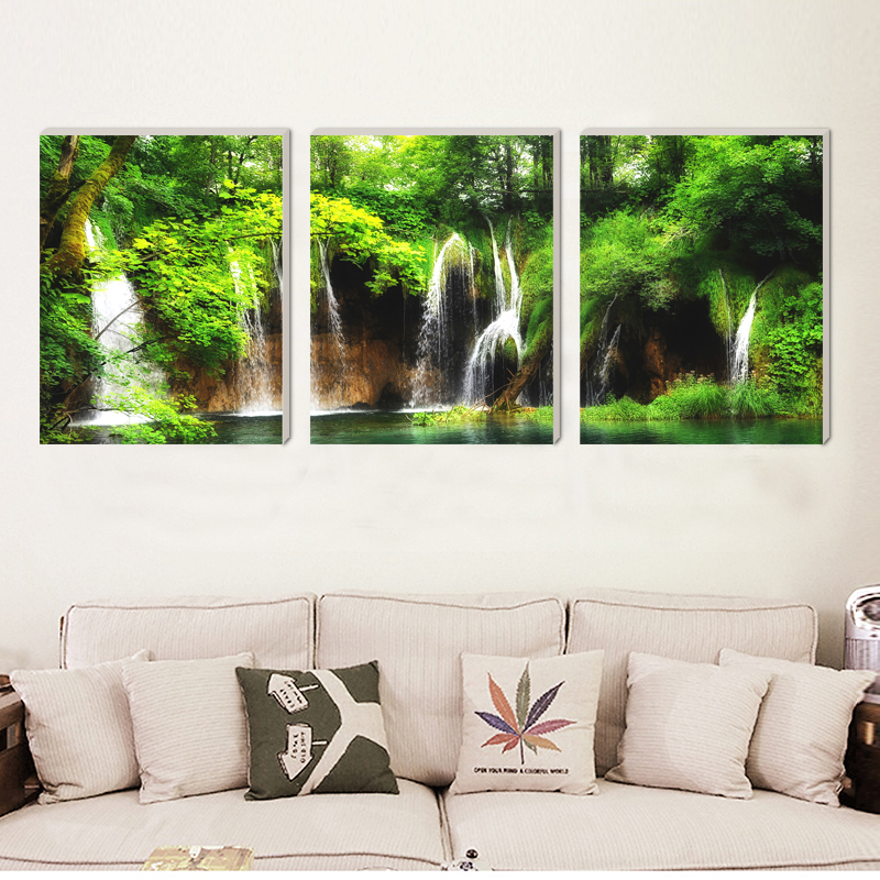 Natural scenery waterfall realist beautiful canvas painting home deco art prints 3 psc wall pictures for living room hotel cafe in Painting Calligraphy from Home Garden